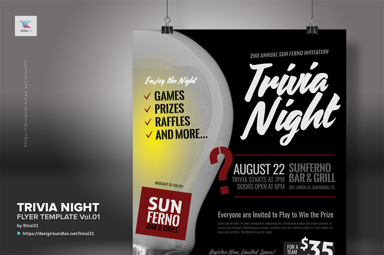 Trivia Night Flyer Template vol.01 example image 3