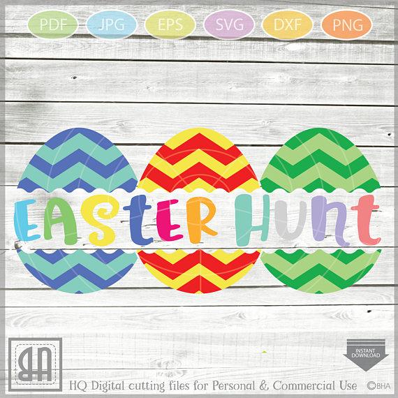 Easter Eggs monogram SVG, Split Easter Eggs, Egg Cut file example image 2