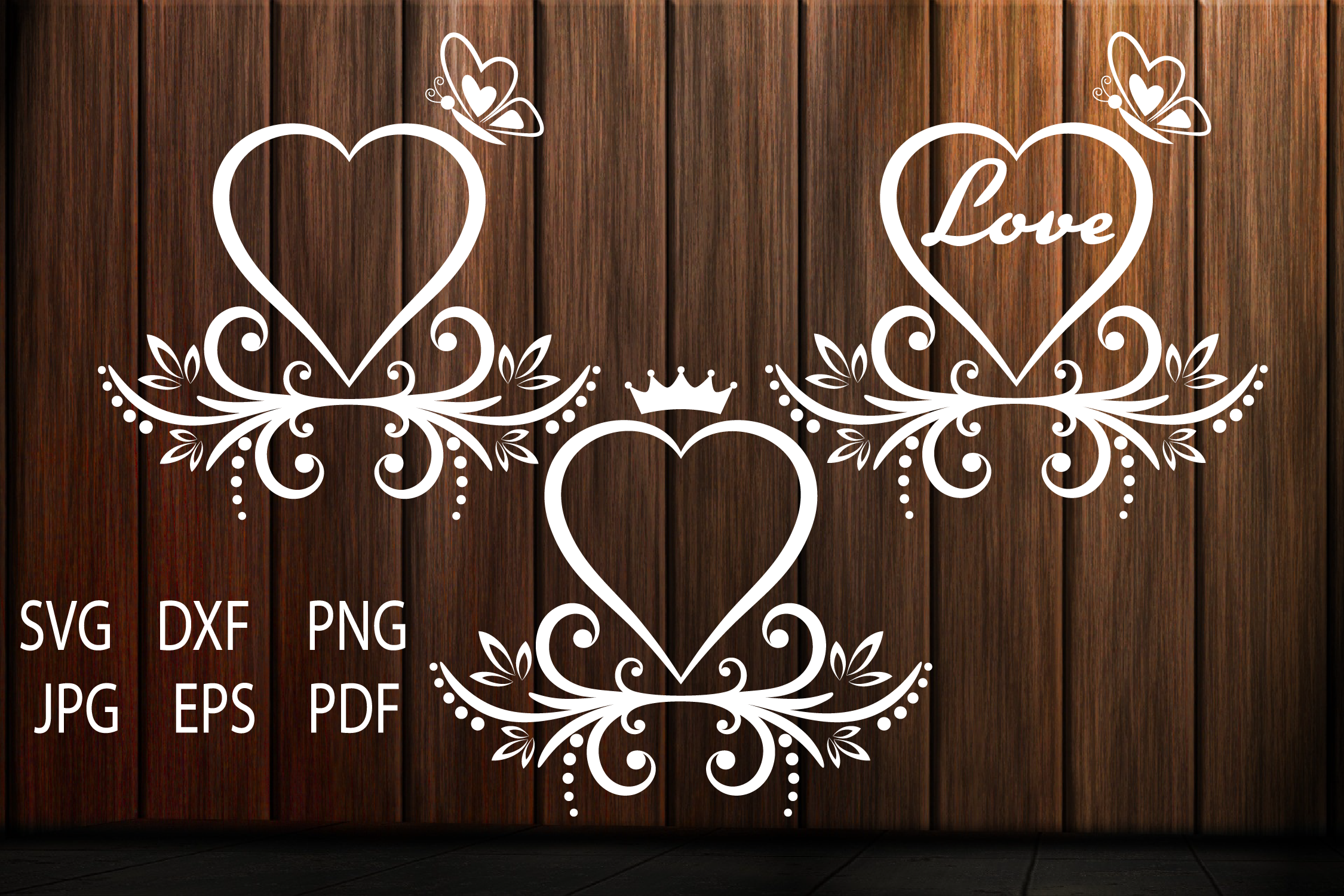Heart SVG, Heart Cut Files, Love, Floral Heart SVG example image 1