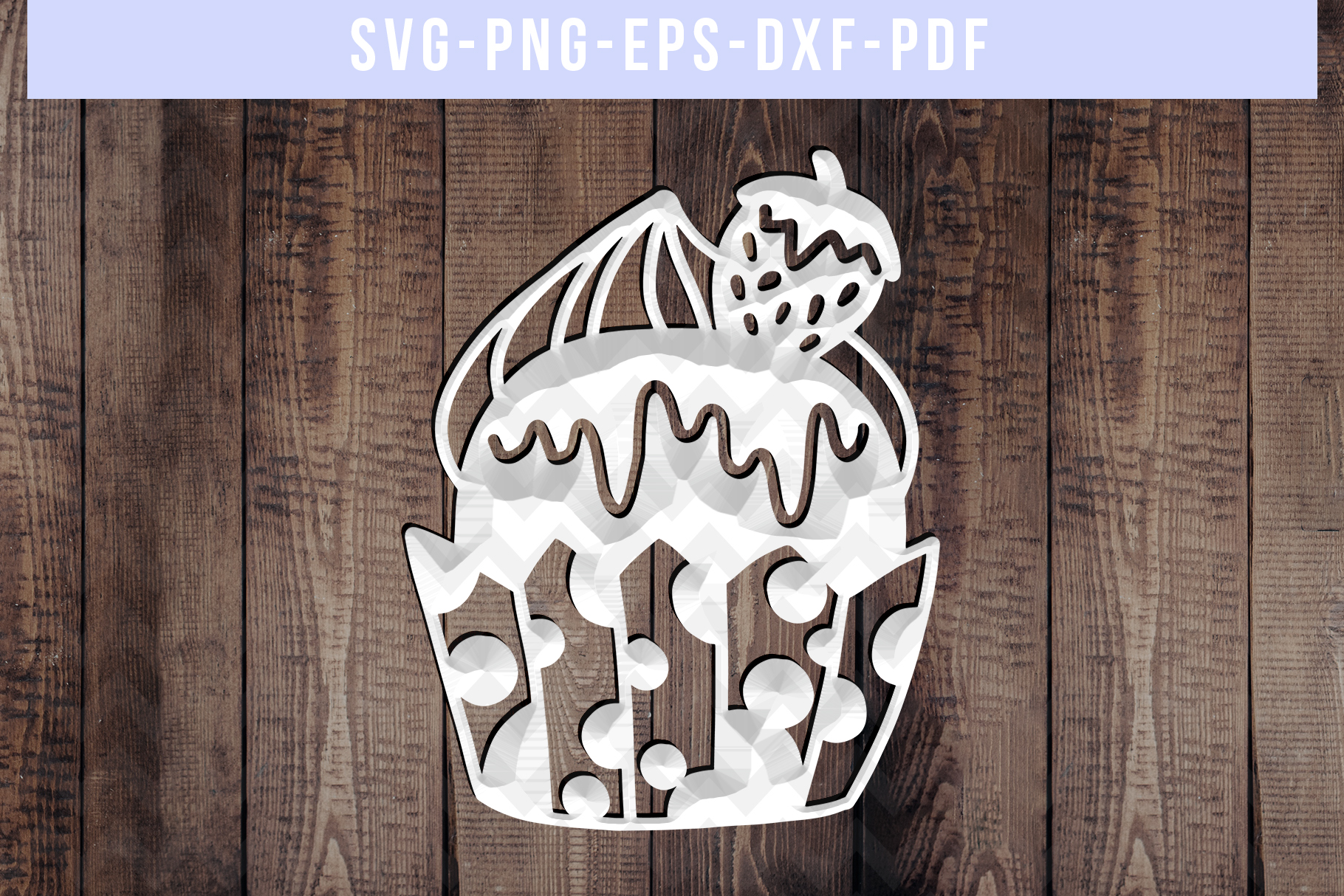 Strawberry Cupcake Papercut Template, Kitchen Gifts SVG PDF example image 2