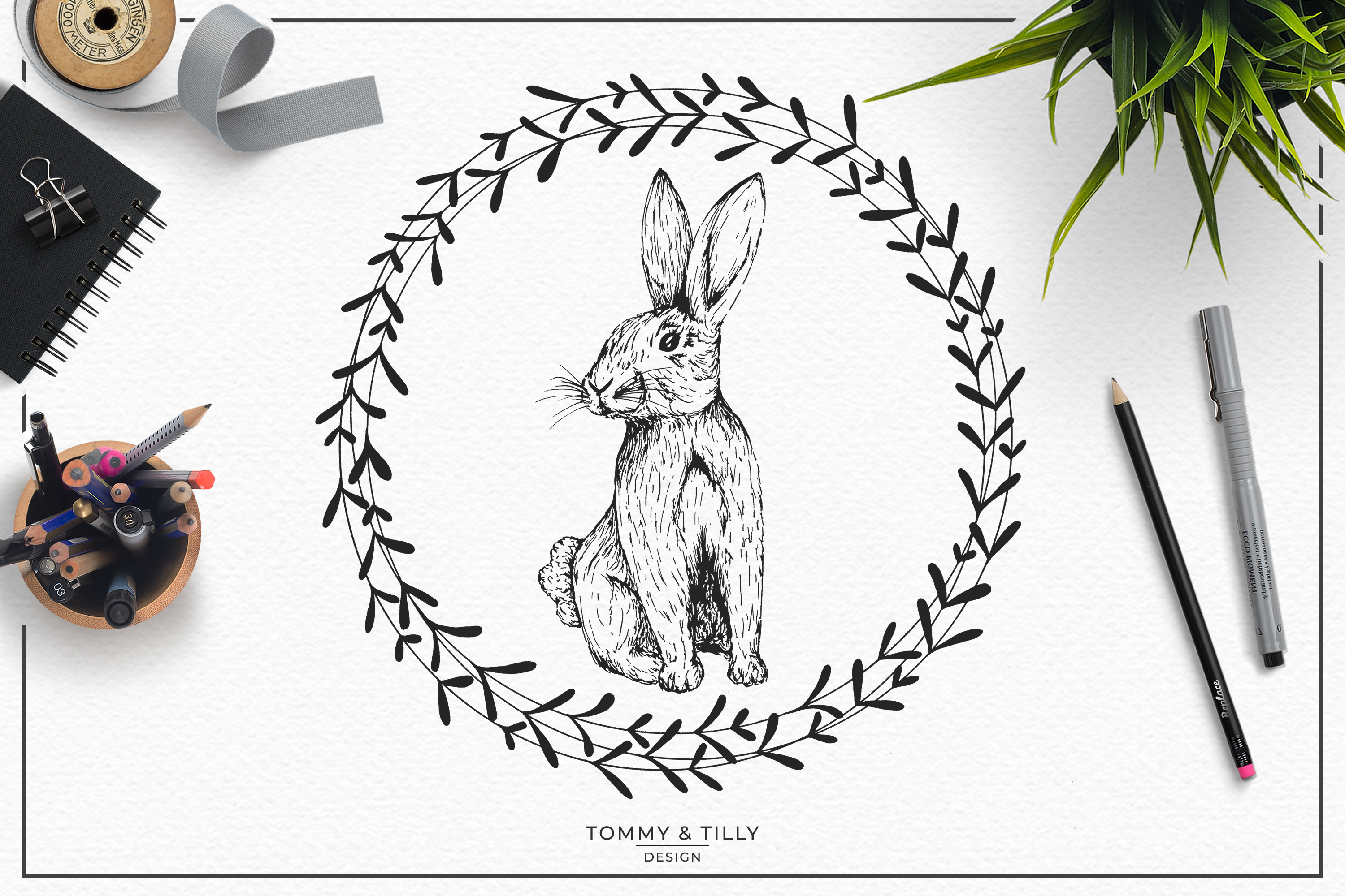 Hand Drawn Rabbit Bundle | High Quality Clipart | Png | example image 2