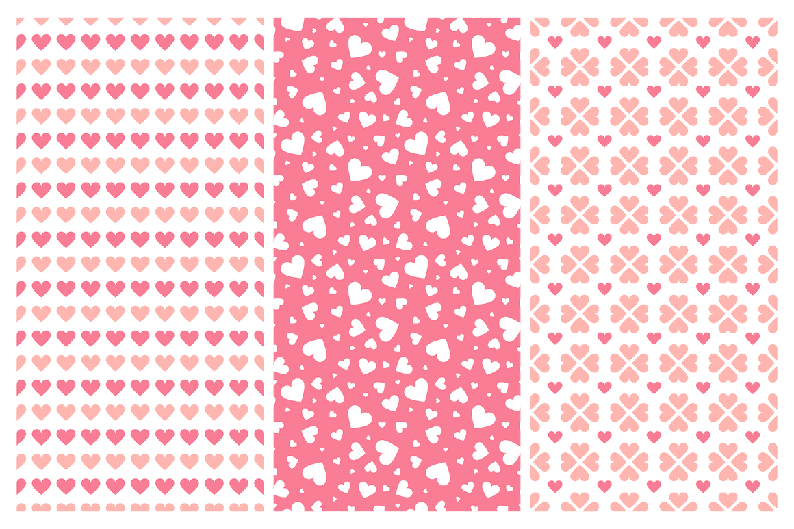 Vector seamless hearts patterns example image 8