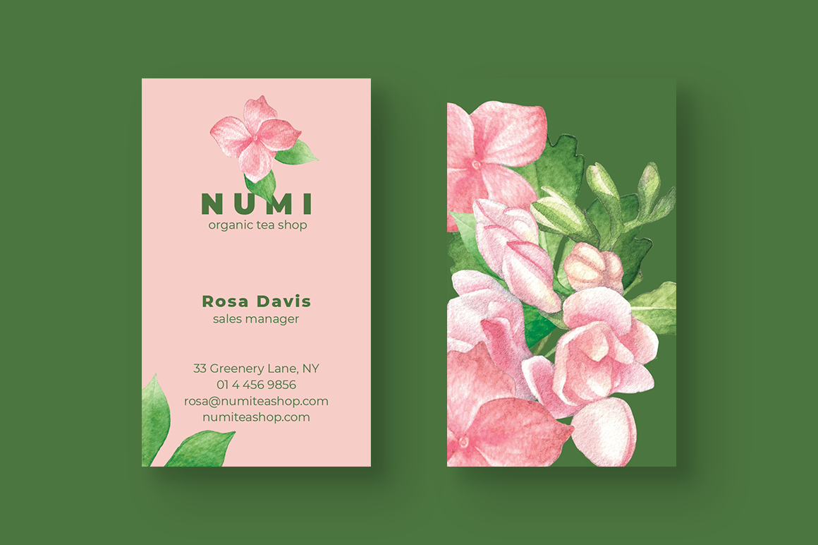Organic Tea Shop Business Card example image 3