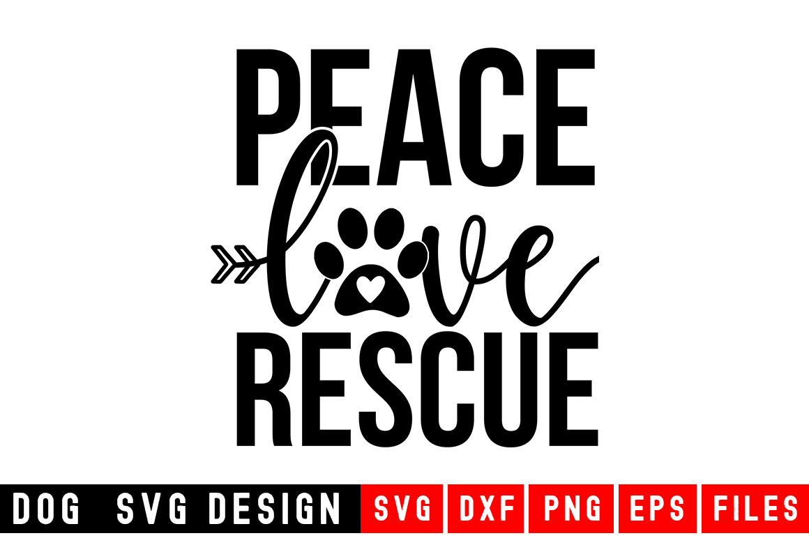 Peace Love Rescue svg|Fur Mom SVG|Animal and Pet svg example image 1