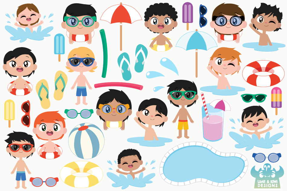 Pool Party Boys Clipart, Instant Download Vector Art example image 2