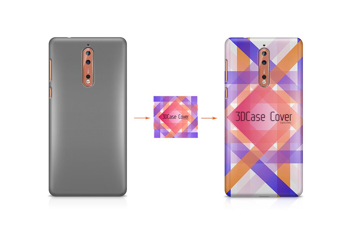 Nokia 3-5-6-8-3D Case Design Mockup Back View example image 5