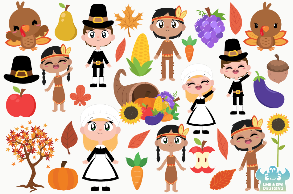 Thanksgiving Day Clipart, Instant Download Vector Art example image 2