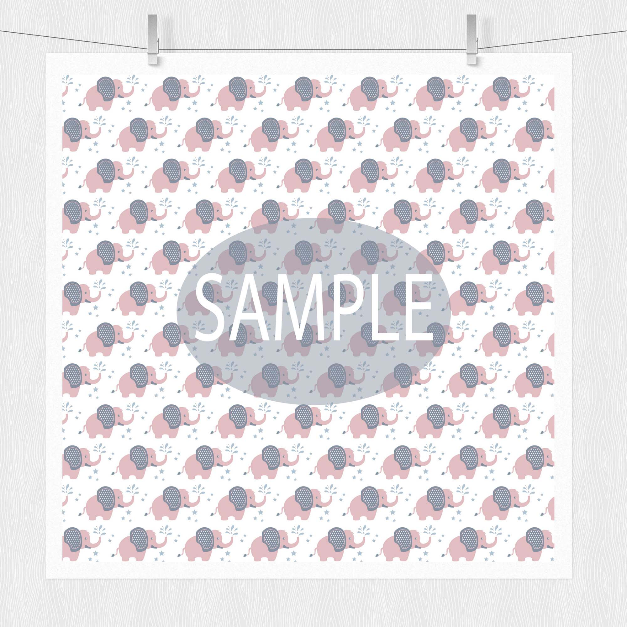 Baby Elephant Digital Paper Patterns - Pink example image 3