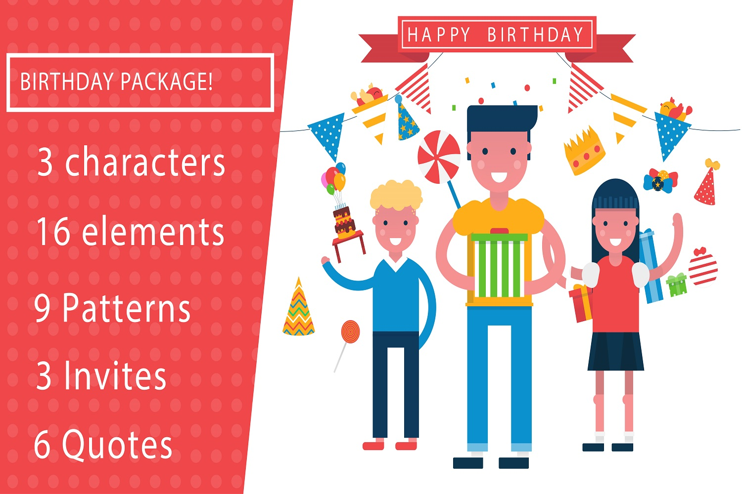Its a birthday party vector illustration pack example image 1