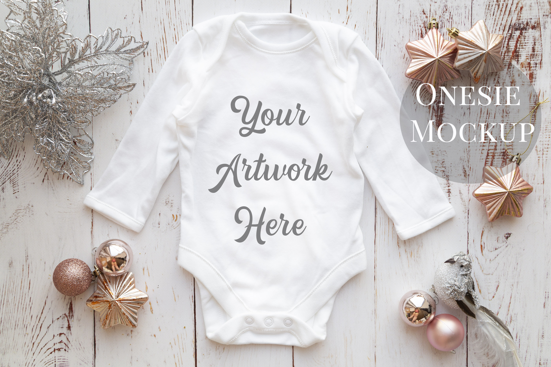 Long Sleeve Onsie, Infant bodysuit Mockup, rose gold & silve example image 1