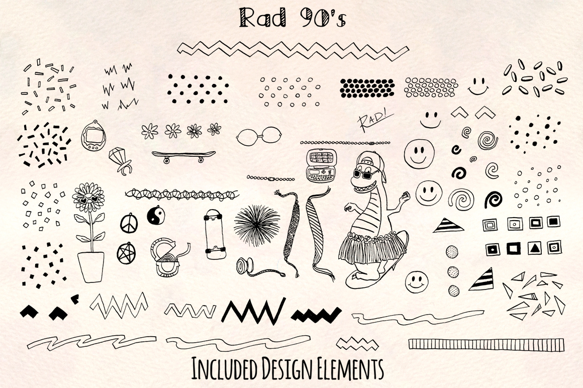 Super Rad 1990's Style Vector Sketch Pattern Kit example image 3