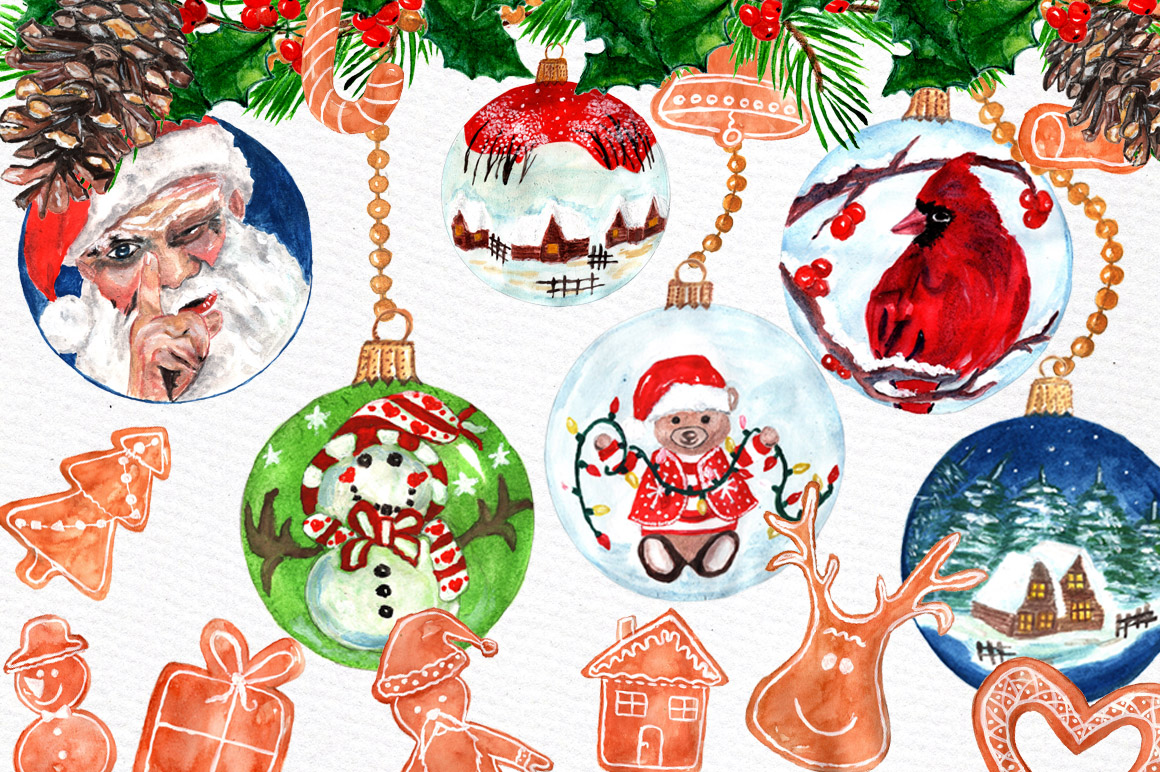 Christmas ornaments clip art example image 1