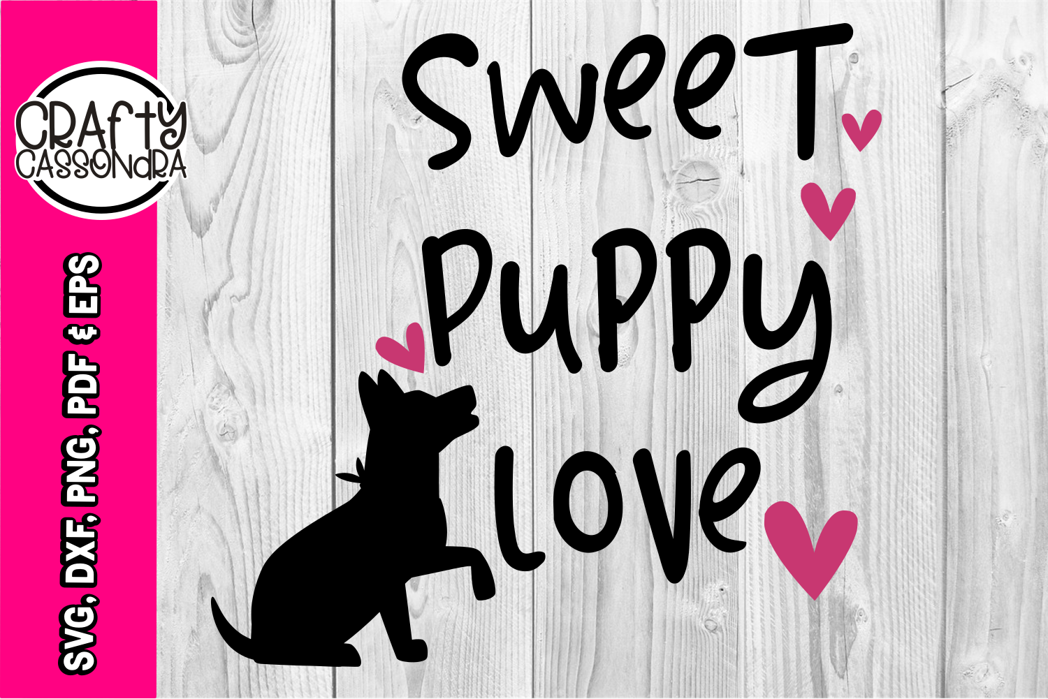 Dog SVG - Puppy love - Heart svg - DXF - dog silhouette example image 1