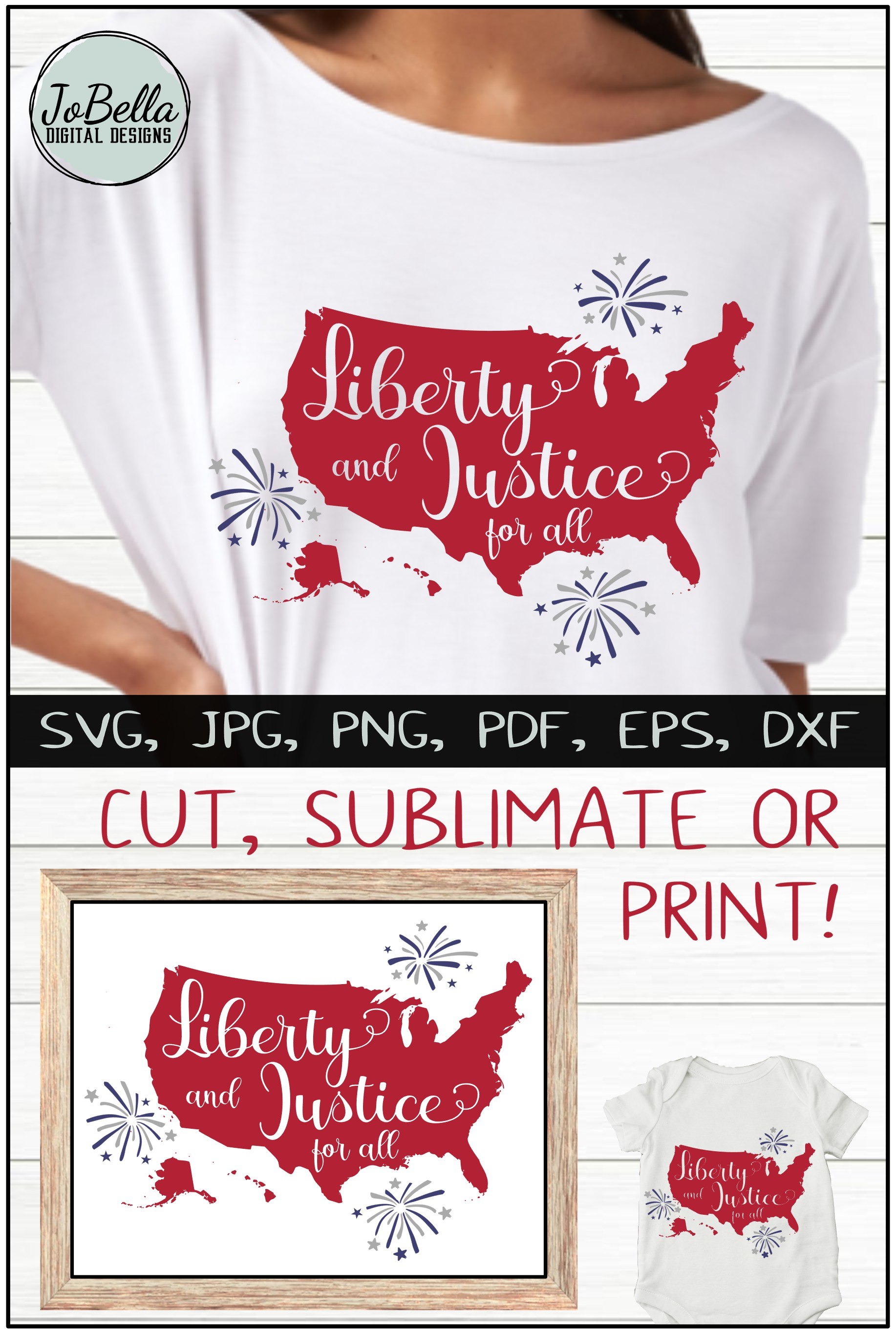 America SVG & July 4th Sublimation Design and Printable example image 5