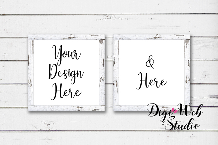 Mockup Bundle -White Rustic Shiplap Wood Signs, Pillow & Mug example image 5
