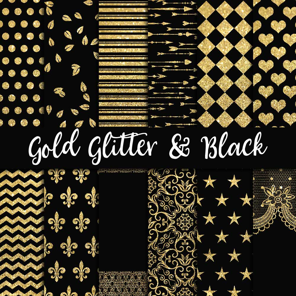 Gold Glitter & Black Digital Paper example image 1