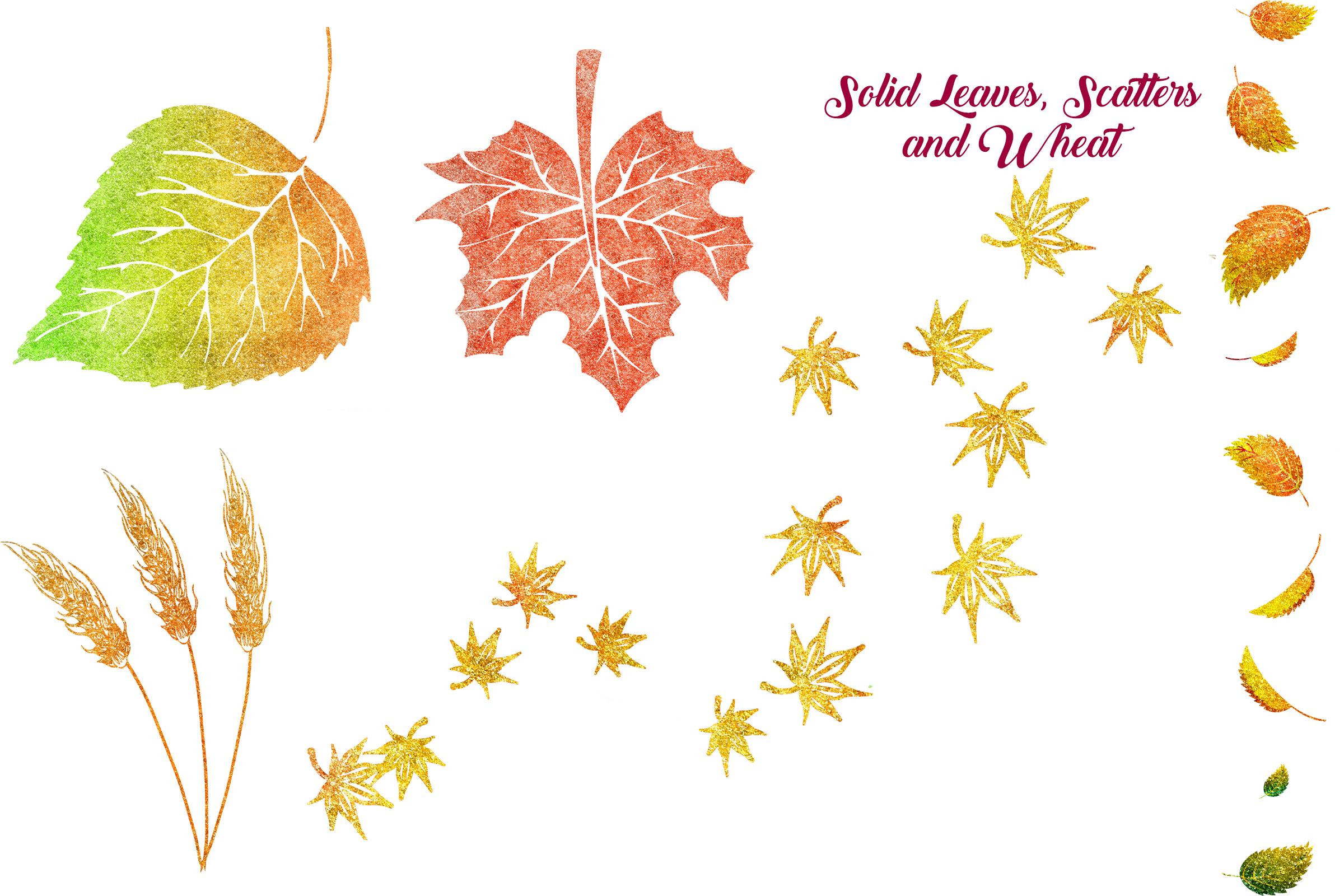 Autumn Glitter Leaf Clip Art example image 4