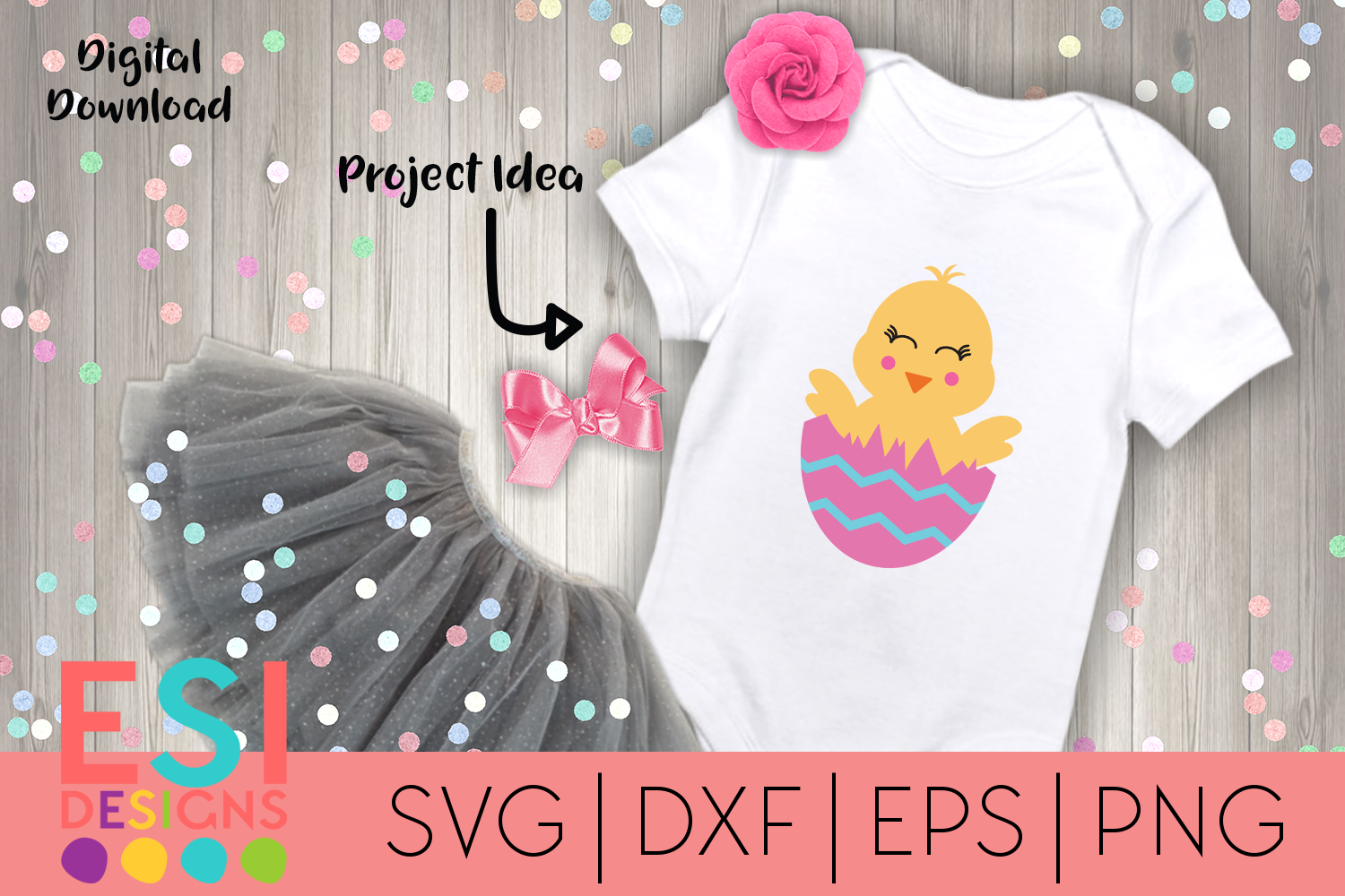 Easter   Cute Chick in Egg  SVG DXF EPS PNG example image 1