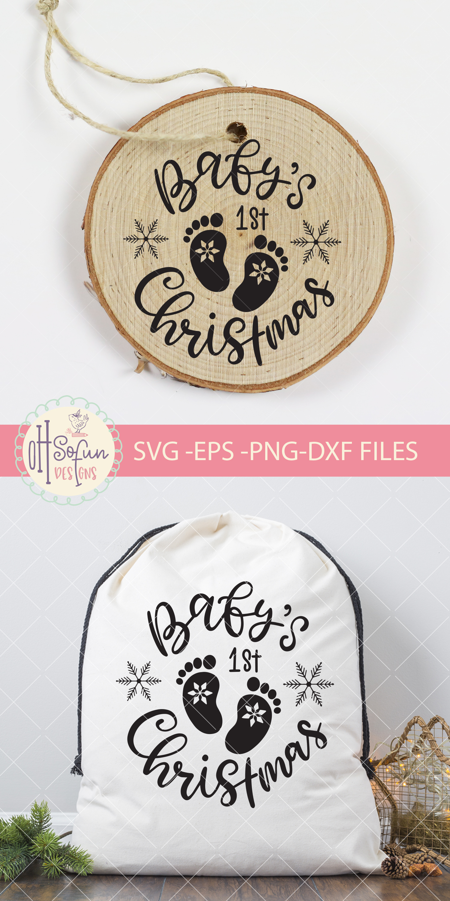 Baby's first christmas, hand lettering christmas SVG example image 3