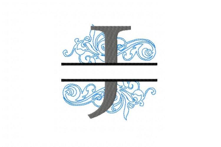 Embroidery Fonts Split Monogram, Monogram J, 4X4 5X7 6x10 example image 2