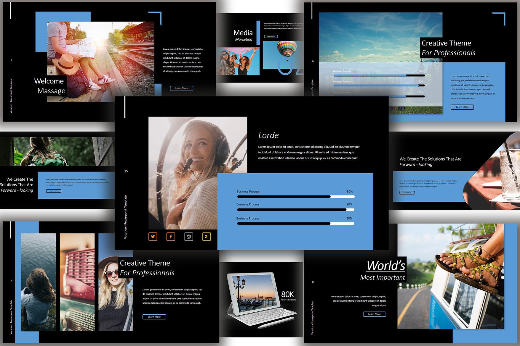Vacation Lookbook Dark Powerpoint Template example image 5