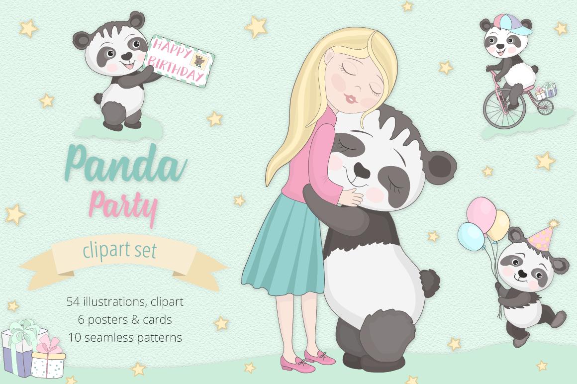 Panda Party Illustration Set example image 1