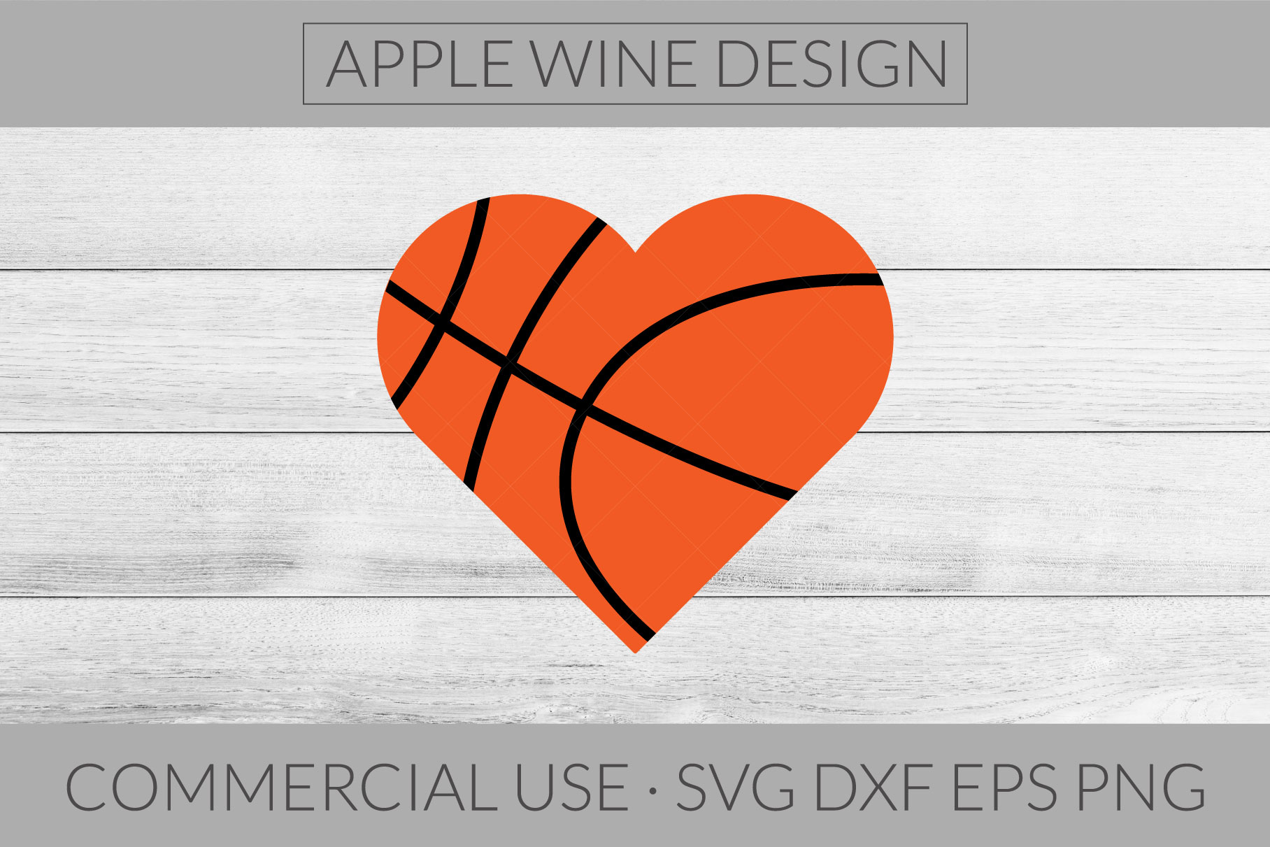 Basketball Heart SVG DXF PNG EPS Cutting File example image 1