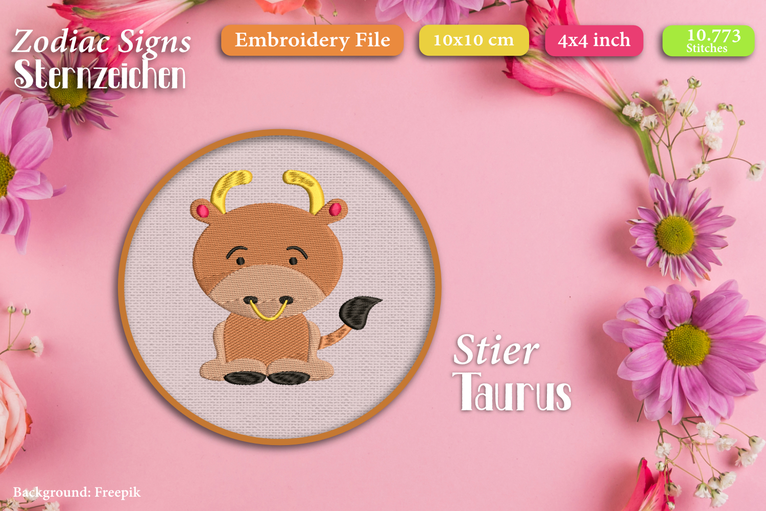 Zodiac sign - Taurus - Embroidery Files example image 1