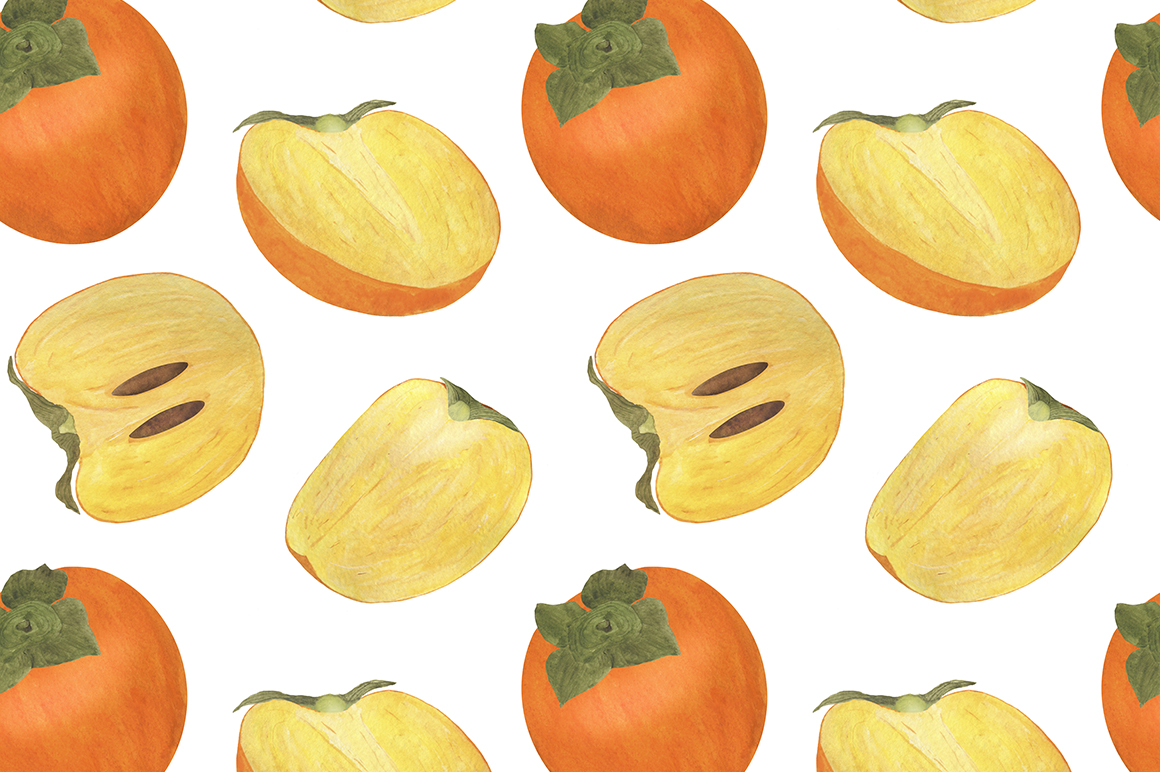 Set of persimmon watercolor illustrations. example image 6