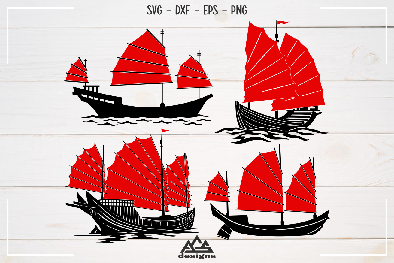 Chinese Traditional Ship Junk Boat Svg Design example image 1