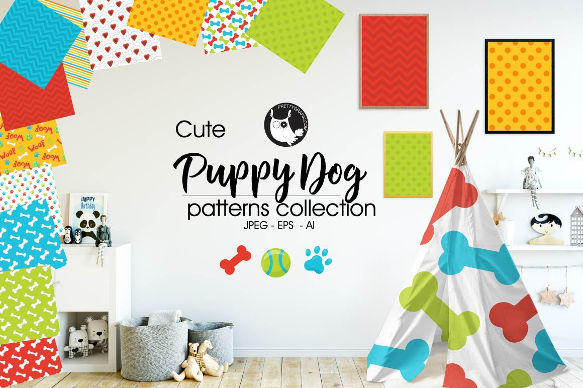 puppy-dog, digital papers example image 1