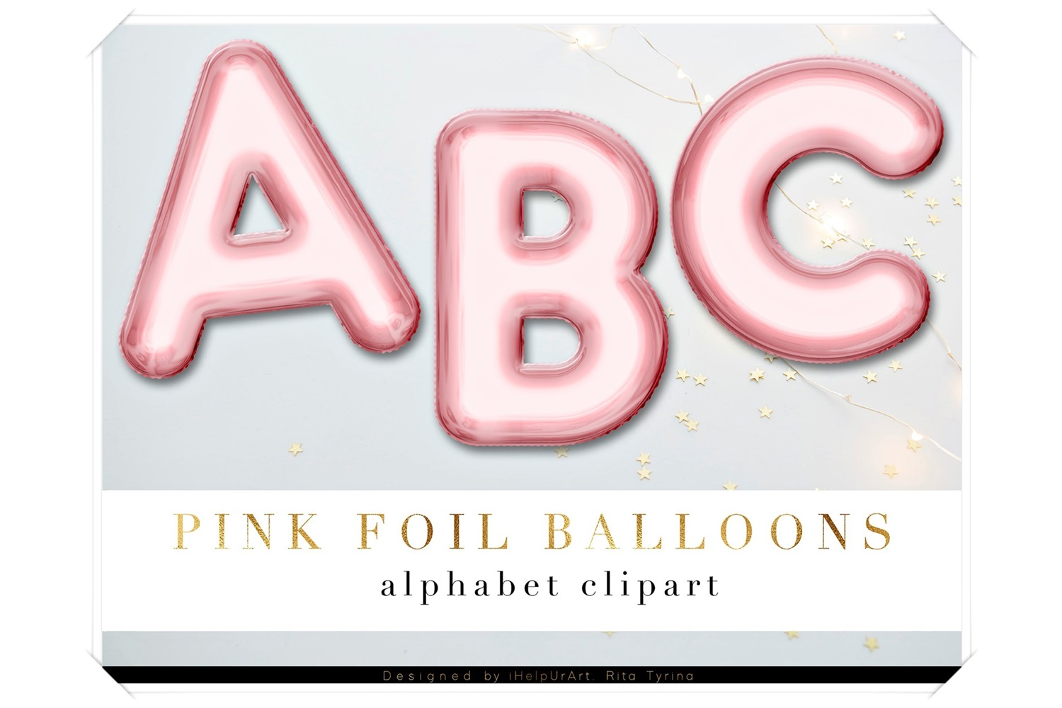 Rose Gold Foil Balloons Letters Clipart example image 1
