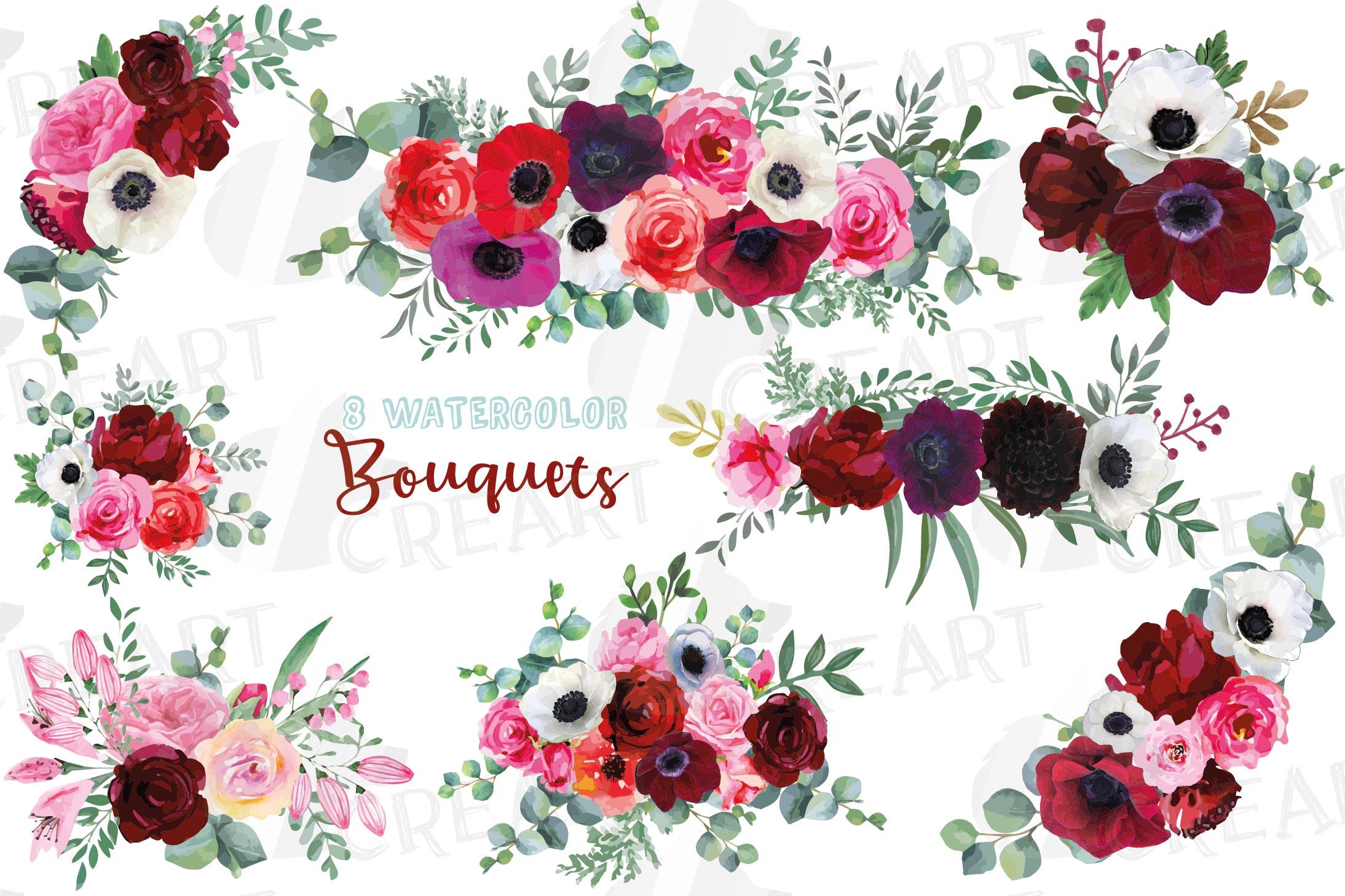 Watercolor elegant floral bouquets, rose, anemone decoration example image 1