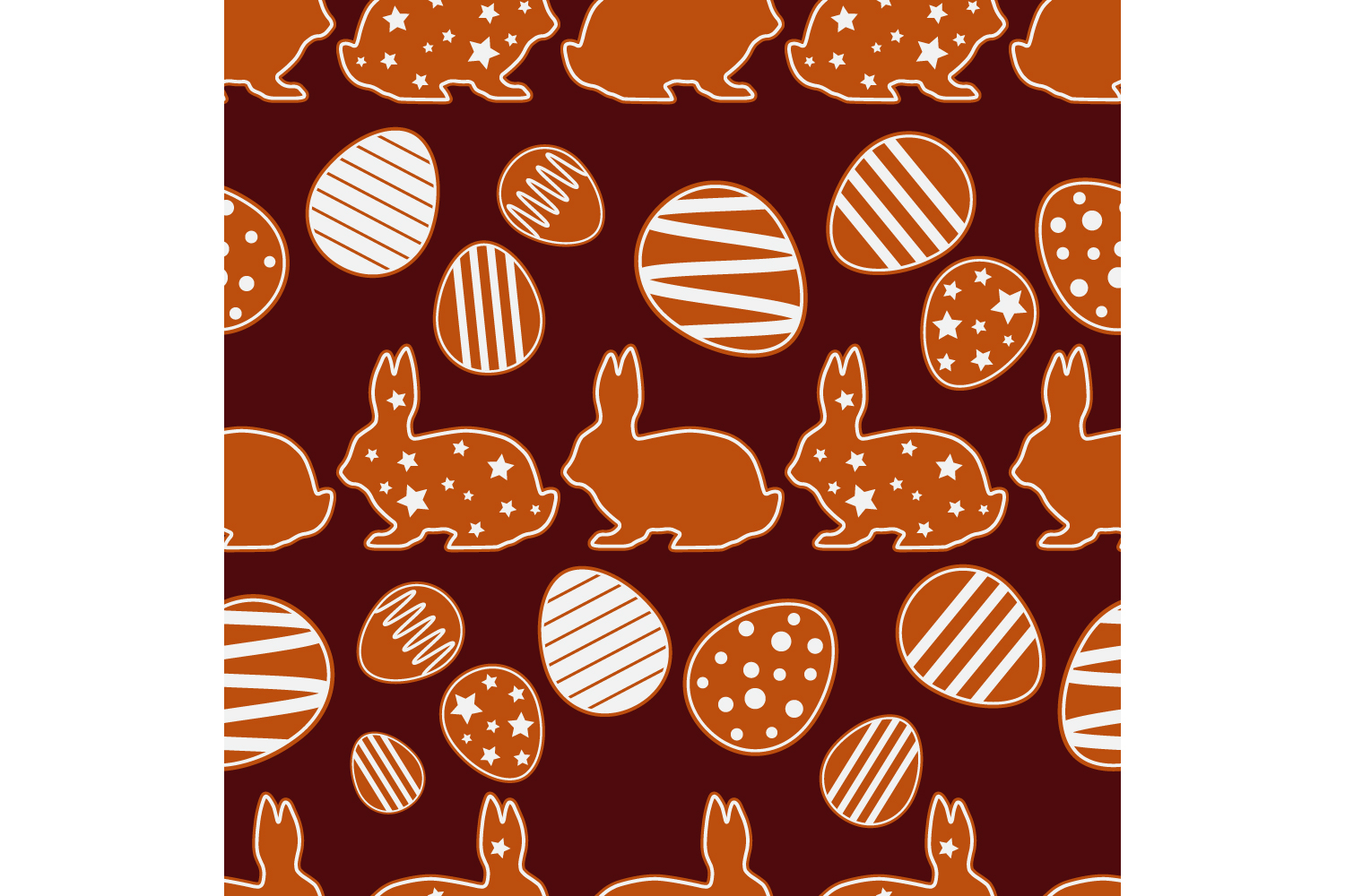Easter gingerbread ornament. Set of 10 seamless patterns. example image 4