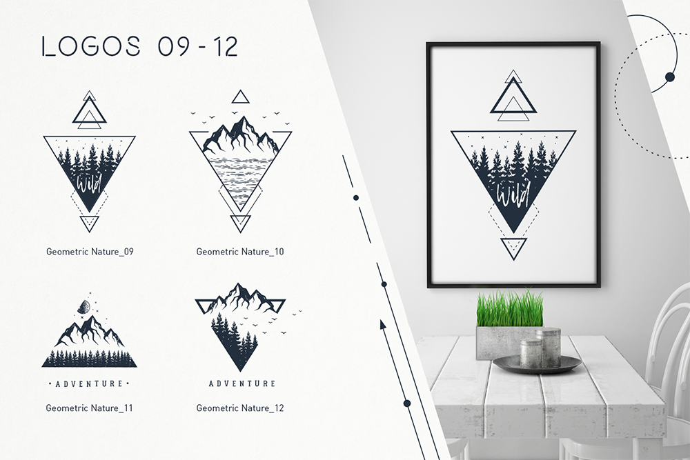 Geometric Nature. 20 Greative Logos in AI, EPS, PNG and SVG example image 4