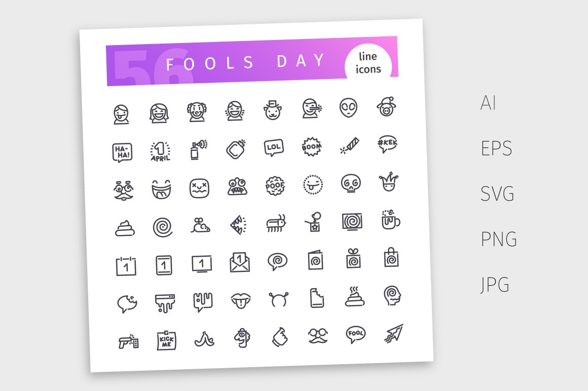 Fools Day Line Icons Set example image 4