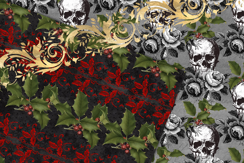 Gothic Christmas Digital Paper example image 2