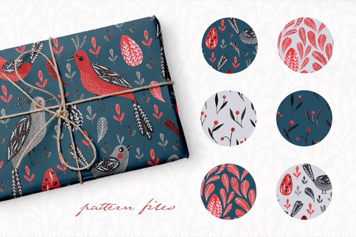 Lovebirds folk art bird illustrated collection example image 4