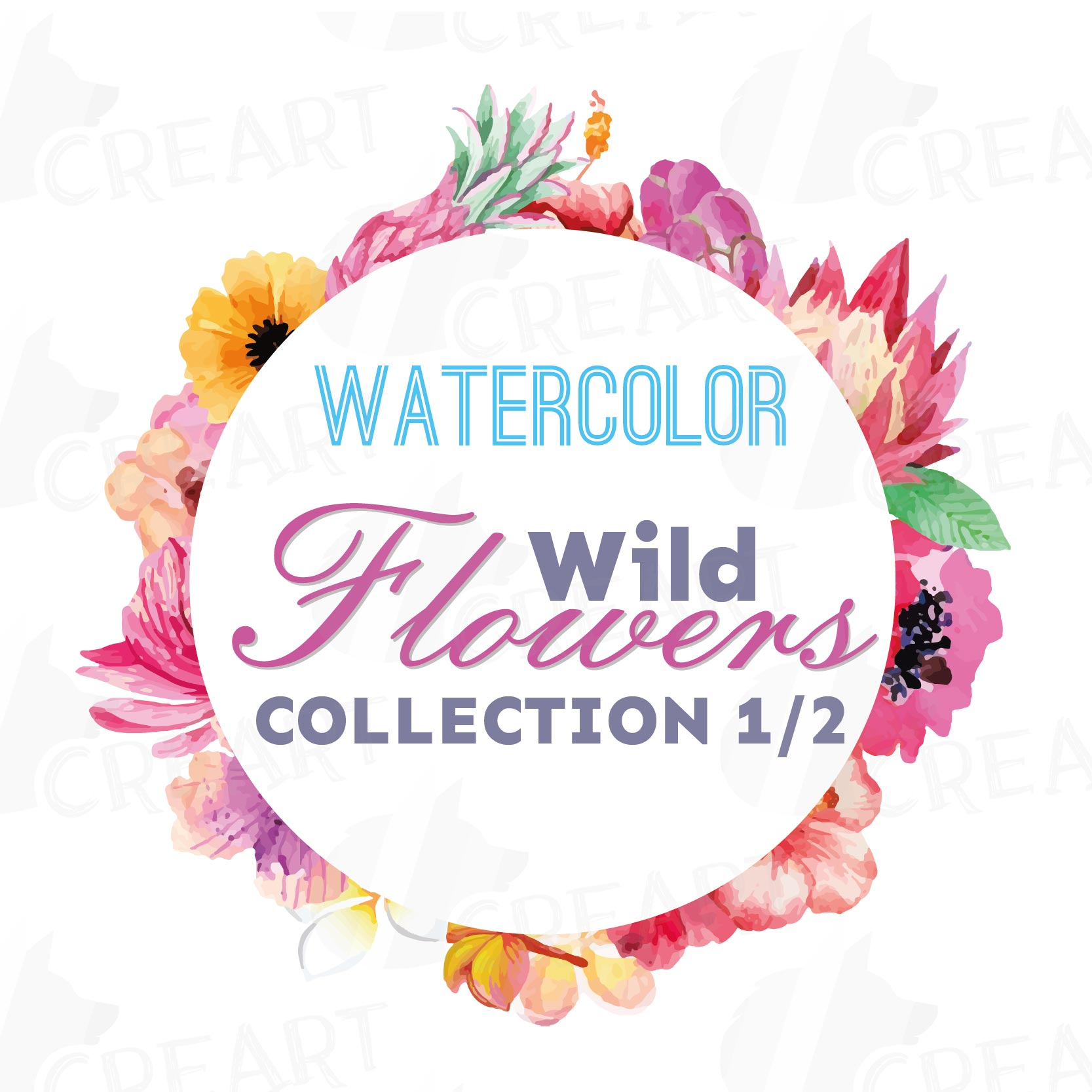 Watercolor wild flowers clip art pack, exotic watercolor flowers valentine clip art. Eps, png, jpg, svg,  vector files included. Part 1/2 example image 4