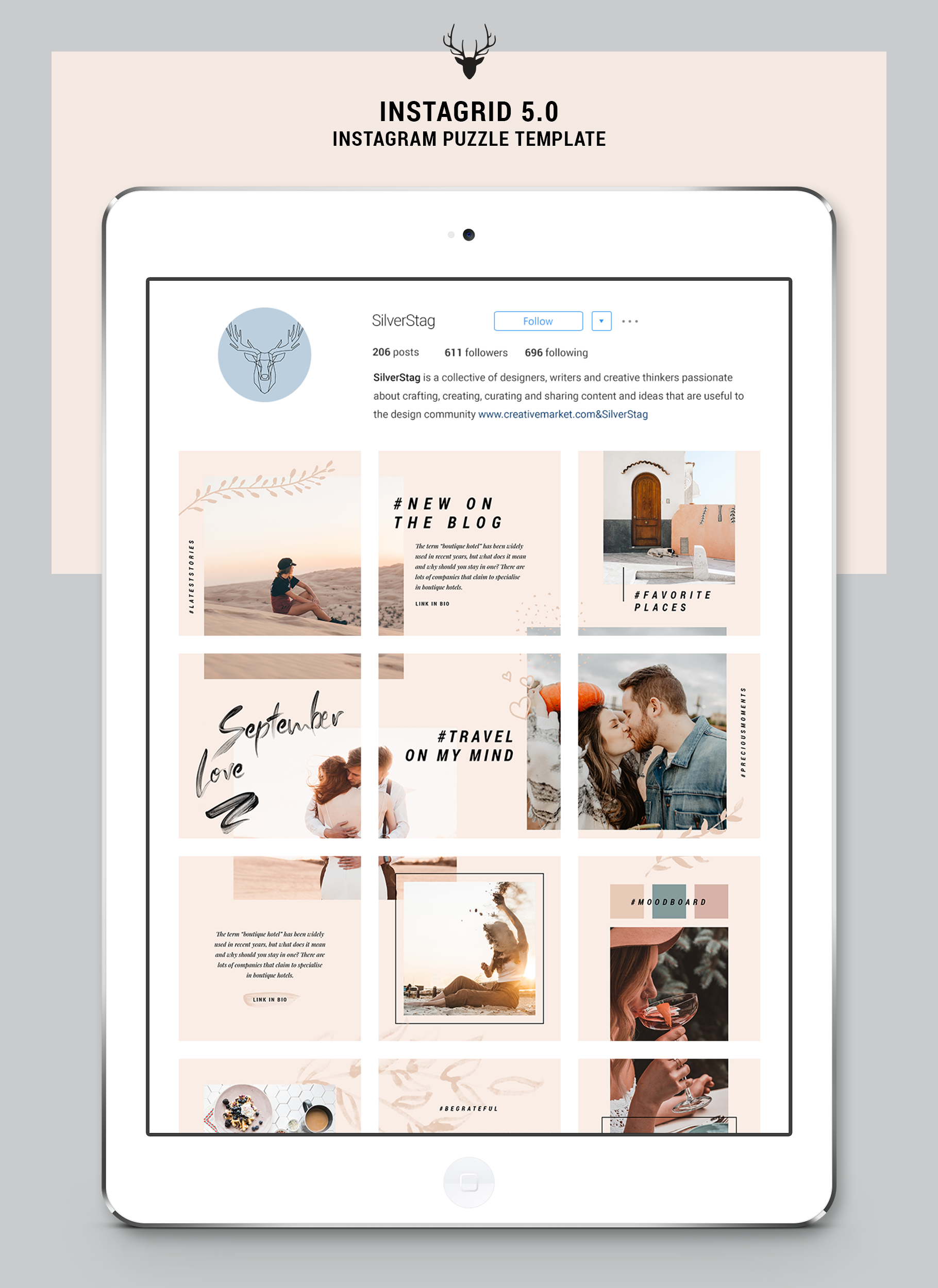 InstaGrid 5.0 - Creative & Modern Instagram Puzzle Template example image 14