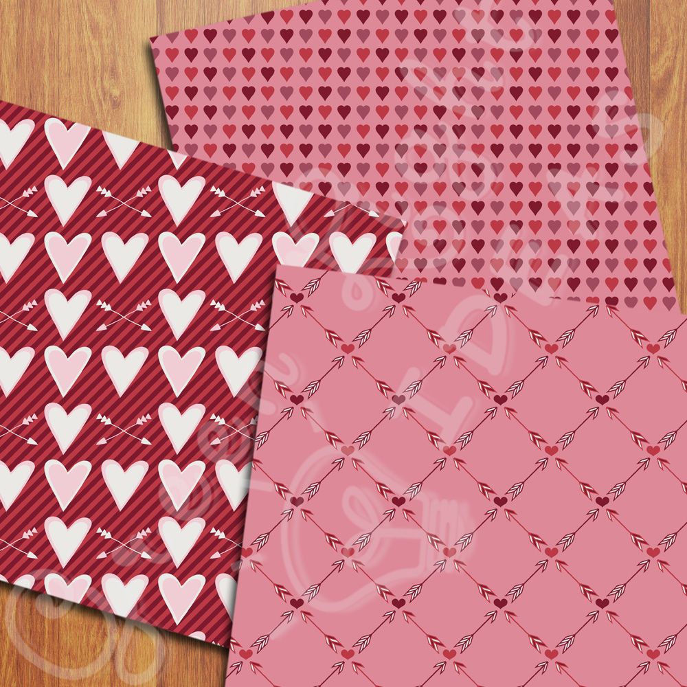 Valentines Digital Papers, Valentine's Day Backgrounds, Arrows and Hearts Papers example image 5