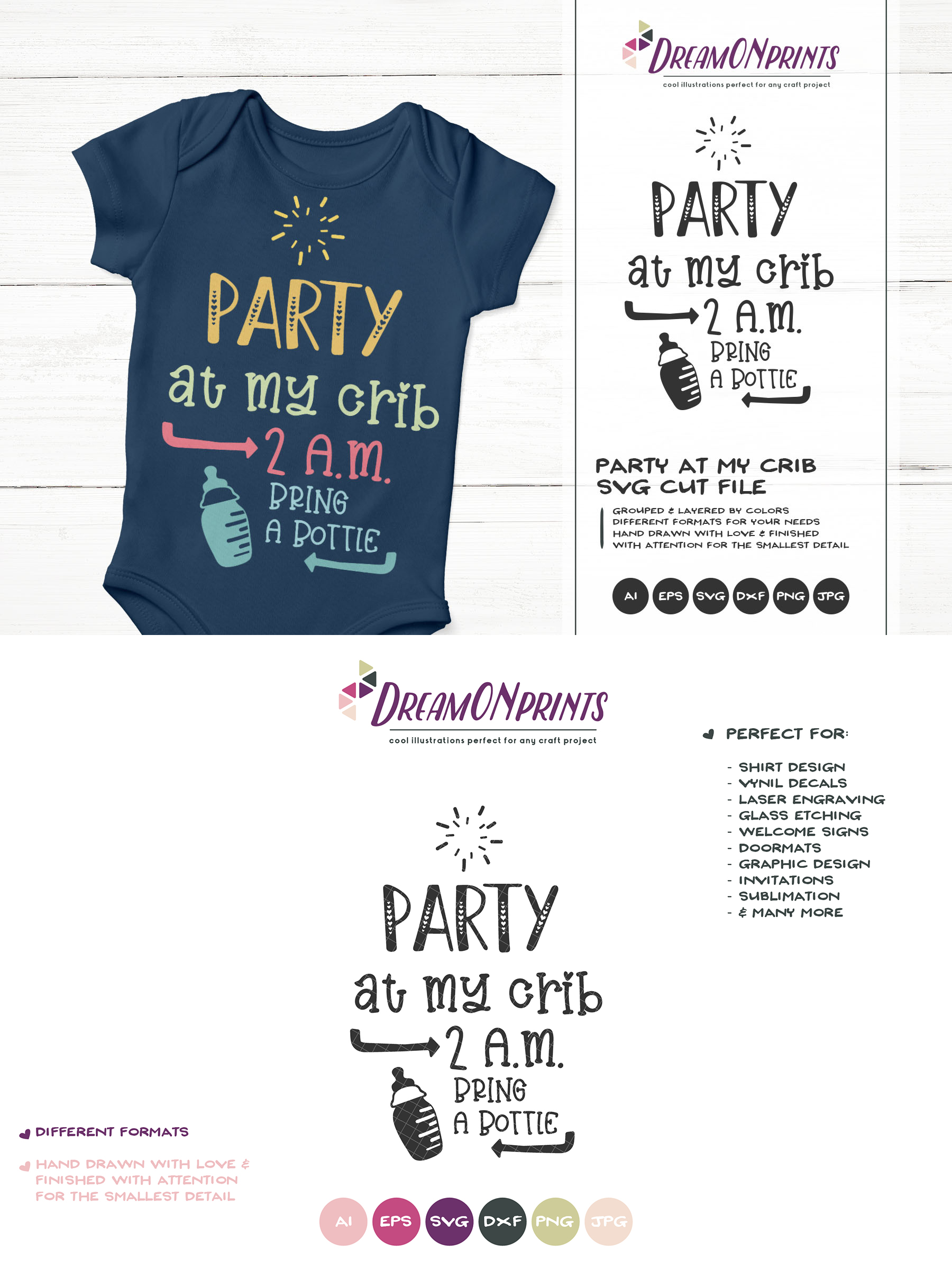 Party at My Crib | Funny New Born SVG Cut Files example image 3