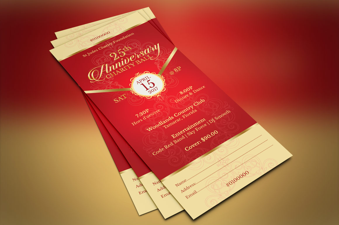 Red Gold Anniversary Gala Ticket Template example image 5