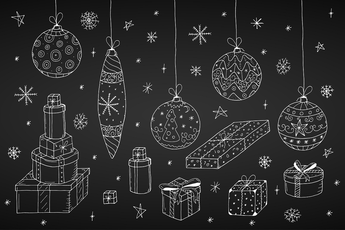 Christmas set in doodle style. example image 3