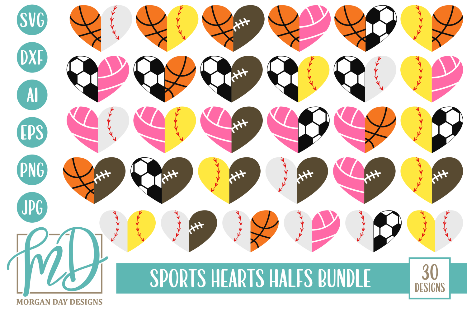 Sports Half Hearts Bundle SVG, DXF, AI, EPS, PNG, JPEG example image 1