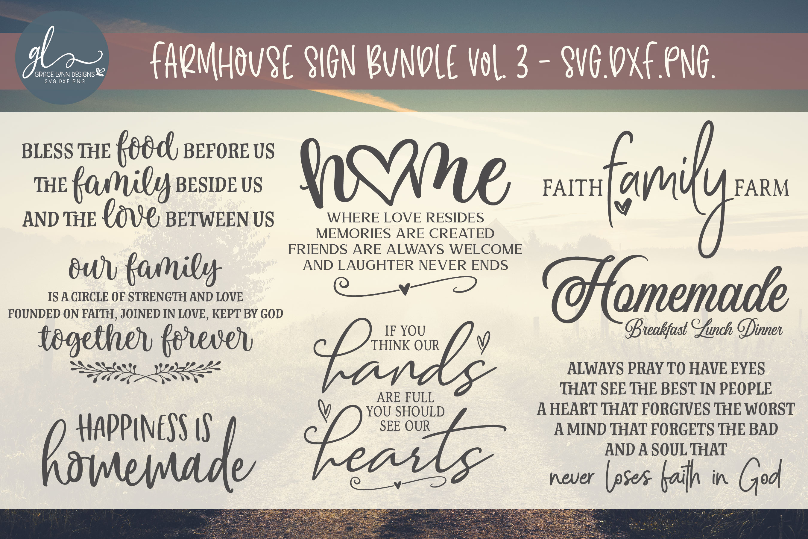 Big Farmhouse Quotes Bundle - 40 Designs - SVG, DXF & PNG example image 4