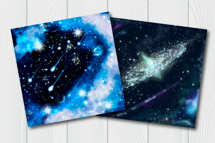 Blue galaxy digital paper. Starry sky background example image 6
