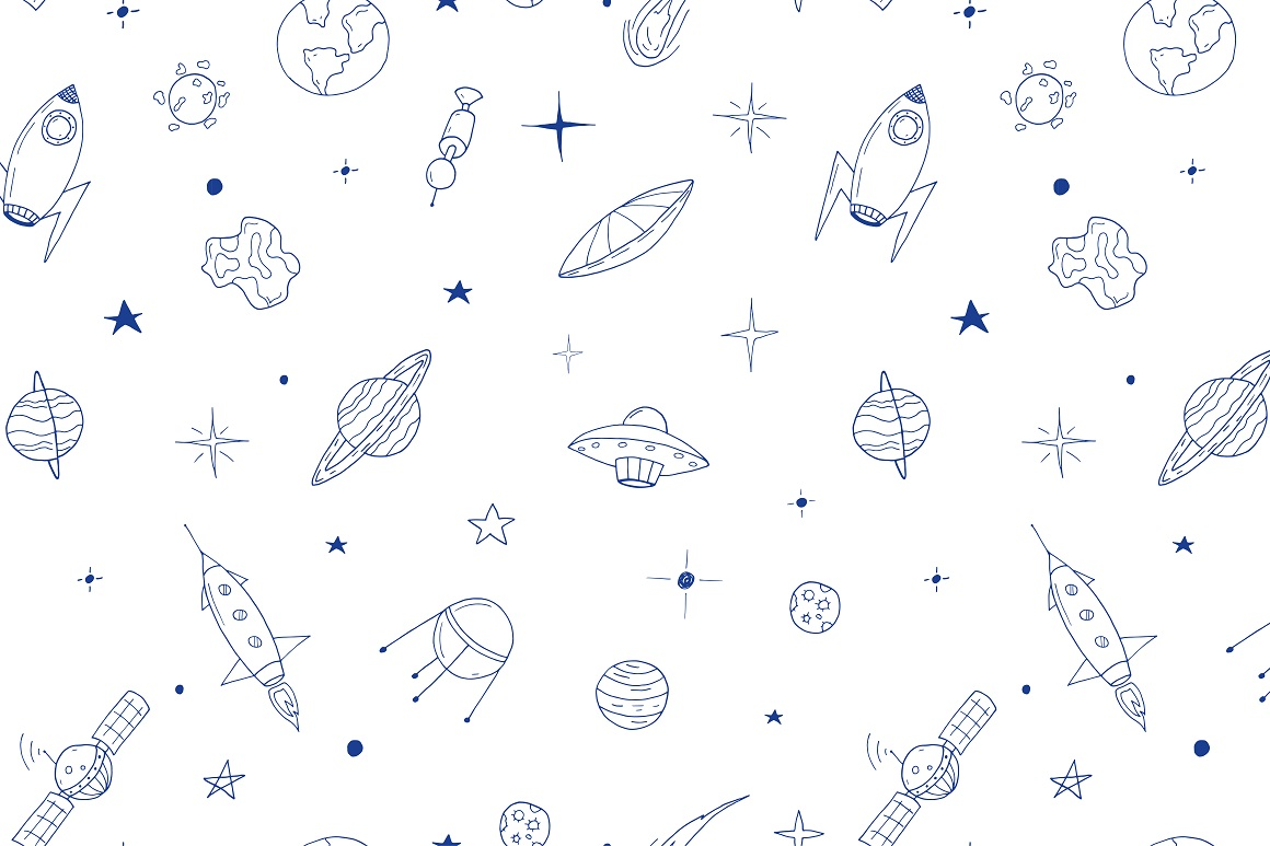 Space set in doodle style + patterns example image 5