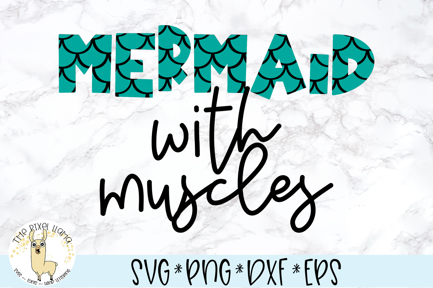 Mermaid With Muscles SVG Cut File example image 1