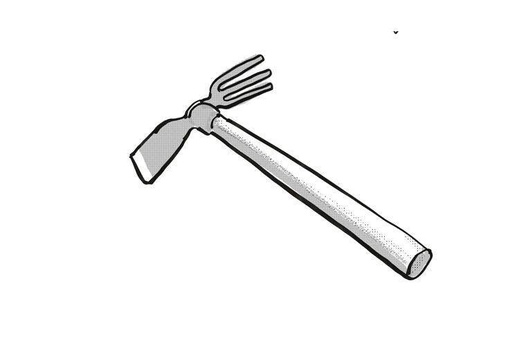 Japanese cuttle-fish hoe Garden Tool Cartoon Retro Drawing example image 1
